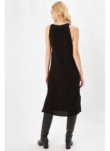 Peraluna Peraluna Siyah Renk Kolsuz Selanik Yırtmaçlı Triko Elbise Siyah